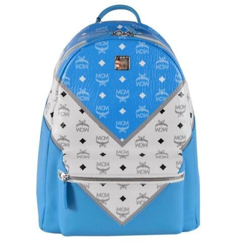 MCM Stark Blue White Chevron Print Colorblock Visetos Backpack Bag - Multi