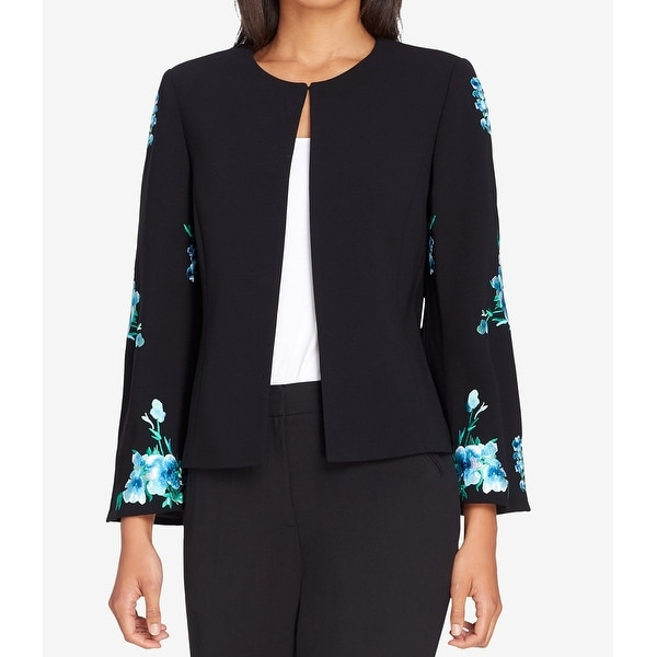 Tahari By ASL Black Womens Size 14 Floral Embroidered Sleeve Jacket