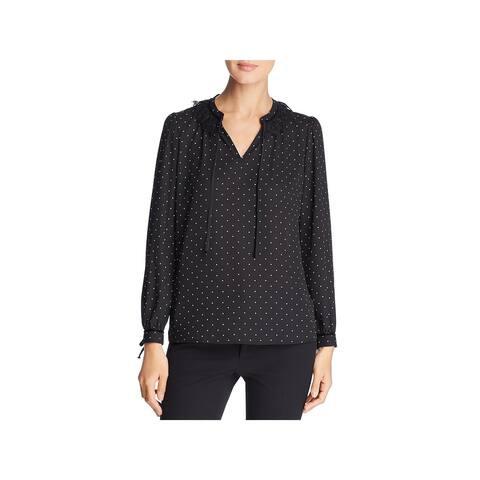 Karl Lagerfeld Womens Blouse Lace Polka Dot - S