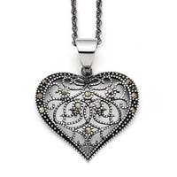 Chisel Stainless Steel Marcasite Textured Heart Necklace (2 mm) - 20 in