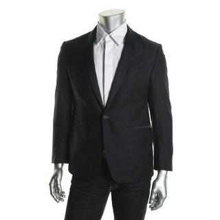 Ryan Seacrest Mens Wool Contrast Trim One-Button Blazer - 38R