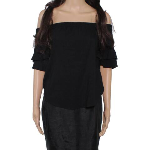 Moa Moa Blouse Black Size XS Junior Off Shoulder Ruffle Tiered Sleeve