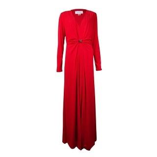 Calvin Klein Women's V-Neck Buckled Jersey Gown