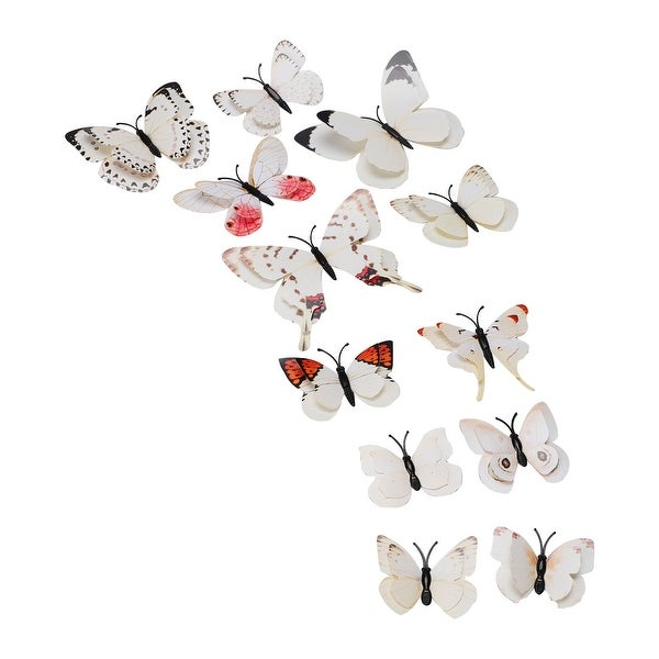 3D Butterfly with Double Wings Sticker with Pin for Room Decoration Beige