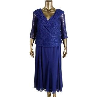 Alex Evenings Womens Plus Lace Trim Party Cocktail Dress - 18W