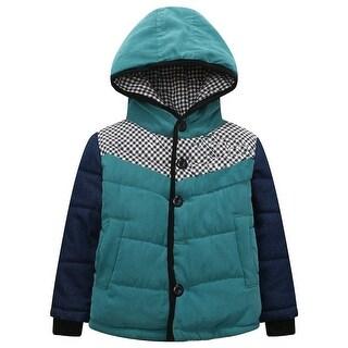 Richie House Baby Boys Blue Denim Sleeve Check Detail Padding Jacket 9-12M