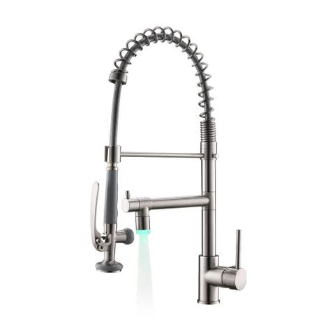 Single Handle Pull Down Sprayer Brushed Nickel Kitchen Faucet, Kitchen Sink Faucet with LED Light