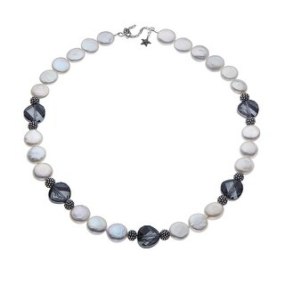 Aya Azrielant Coin Freshwater Pearl Necklace with Swarovski Elements Crystals in Sterling Silver