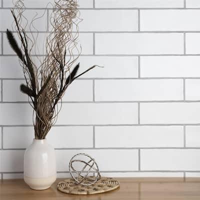 "SomerTile Chester Matte Bianco 3"" x 12"" Ceramic Wall Subway Tile"