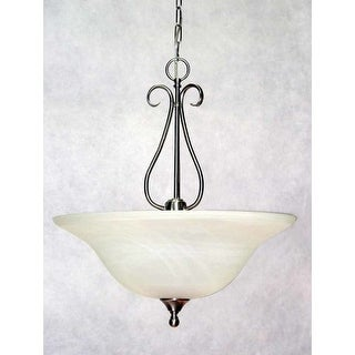 "Volume Lighting V6366 Minster 3 Light Bowl Shaped 21.5"" Height Pendant with White Alabaster Glass Bowl Shade"