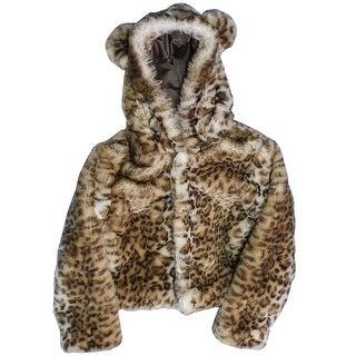 Little Girls Snow Leopard Critter Ears Button Closure Faux Fur Hood Jacket 2T-5