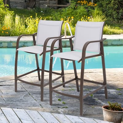 """Crestlive Products Outdoor 2-piece Counter Height Bar Stool Set - 21.7""""W x 25.6""""D x 43.7""""H"""