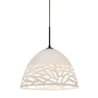 Besa Lighting 1JT-KIEVWH-LED Kiev Single Light LED Pendant with Stenciled Glass Shade