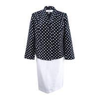 Le Suit Women's Plus Size Polka-Dot Skirt Suit (18W, Black/White) - Black/White - 18W
