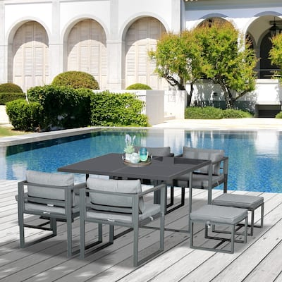 Outsunny 9 Piece Outdoor Patio Dining Set with 4 Chairs, 4 Ottomans, & Glass Table with Cushions & Aluminum Frame