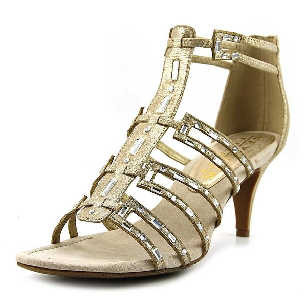 New York Transit Value Me Women Open-Toe Canvas Gold Heels