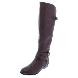 Material Girl Womens Carleigh Riding Boots Faux Leather Knee-Length
