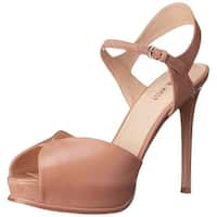 Nine West Womens Cruzeto Leather Peep Toe Casual Ankle Strap Sandals