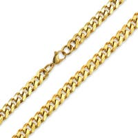 Bling Jewelry Mens Steel Curb Cuban Wide Link Chain Necklace Gold Plated 10mm
