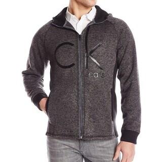 Calvin Klein NEW Gray Mens Size Large L Full Zip Hooded Logo Sweater