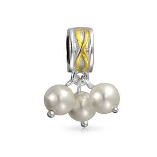 Bling Jewelry 925 Silver Imitation Pearl Dangle Charm Bead