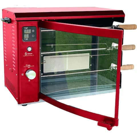 Brazilian Flame Brazilian Gas Rotisserie Grill with 3 Skewers in Red