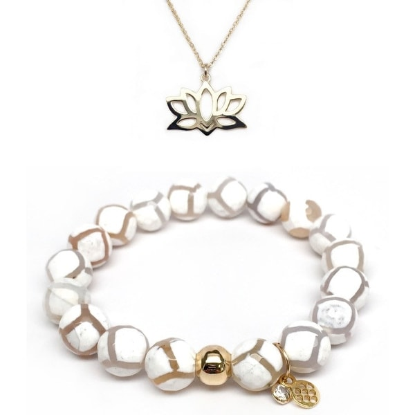 "White Agate 7"" Bracelet & Lotus Flower Gold Charm Necklace Set"