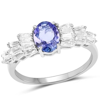 Link to Malaika 2.23 Carat Genuine Tanzanite and White Topaz .925 Sterling Silver Ring Similar Items in Necklaces
