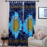 Handmade 100% Cotton Celtic Wheel of Life Batik Curtain Drape Panel Blue - 44 inches x 88 inches