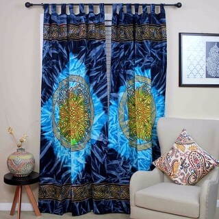 Handmade 100% Cotton Celtic Wheel of Life Batik Curtain Drape Panel Blue - 44 inches x 88 inches
