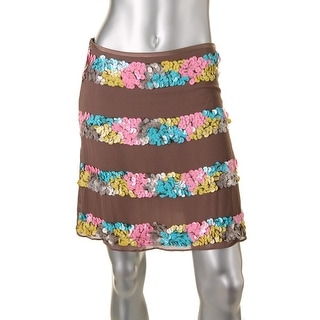 Catherine Malandrino Womens Silk Paillettes Pencil Skirt - 4