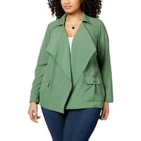 NY Collection Green Vineyard Women's Size 2X Plus Fly Away Jacket