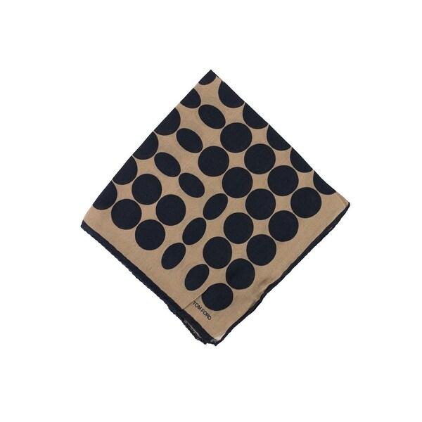 Tom Ford Men's Brown Circle Abstract Silk Pocket Square