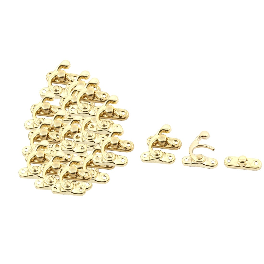 Picture of: Shop Black Friday Deals On Decorative Jewelry Wine Wooden Box Hasp Latch Hook Gold Tone 20 Sets Gold Tone 1 1 X 0 9 L W On Sale Overstock 28855194