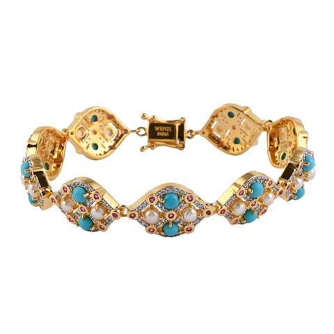 Silver Sleeping Beauty Turquoise Ruby Bracelet Size 7.75 Inch Ct 8.03 - Bracelet 7.75''