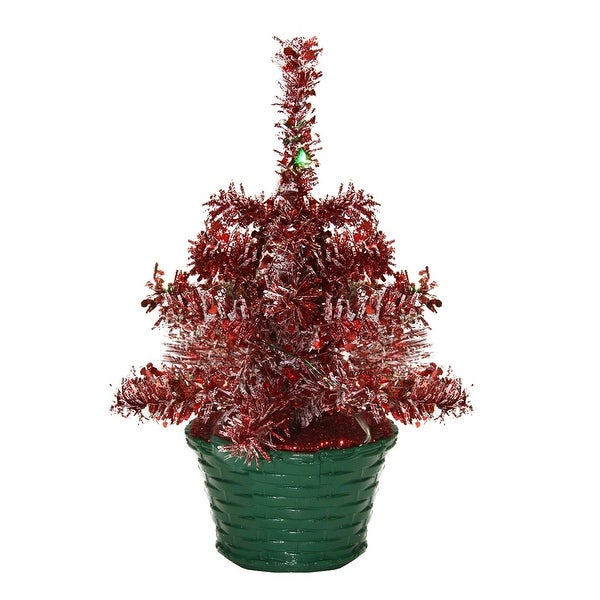 "8"" LED Lighted Battery Operated Table Top Red Tinsel Potted Christmas Tree - Green Lights"