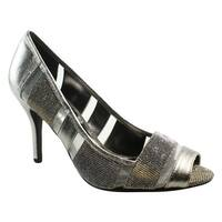 J. Renee Womens Jemma Pewter Open Toe Heels Size 7.5