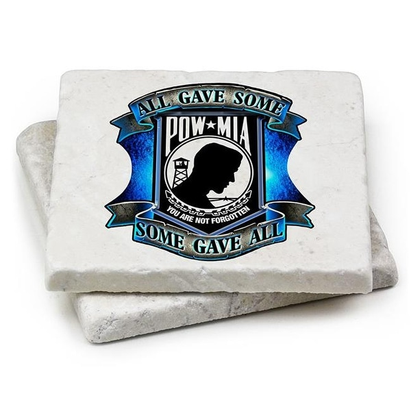 Shop Natural Stone Coasters Patriotic Gifts for Men or Women - POW All - Free Shipping On Orders Over $45 - Overstock.com - 21926378