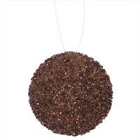 4.75 in. Chocolate Brown Sequin And Glitter Drenched Christmas Ball