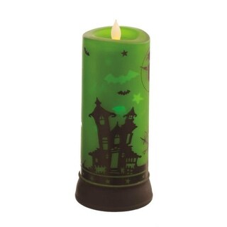 "9"" Rotating Green Flicker Candle with Spooky Halloween Scene"