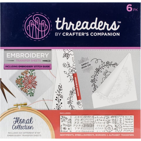 Crafter's Companion Threaders Embroidery Transfer Sheets-Floral 6/Pkg