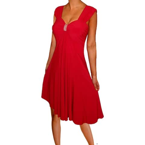 Funfash Women Plus Size Dress Slimming Red Empire Waist Sleeveless