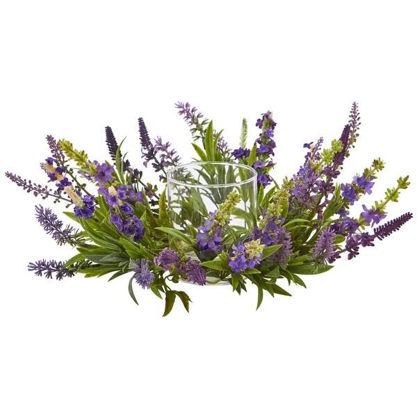 Nearly Natural Holiday Decor Lavender Artificial Arrangement Candelabrum