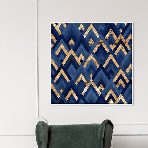 Oliver Gal 'Sparkle In My Eye Gold' Abstract Wall Art Framed Canvas Print Patterns - Blue, Gold