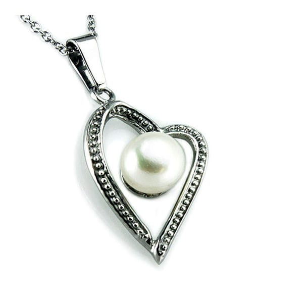 Pearl in Artform Styled Stainless Steel Heart Pendant - 18 inches