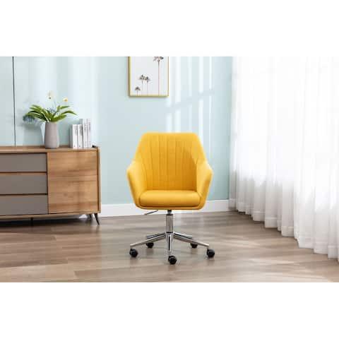 Linen Swivel Upholstered Home Office Desk Chair With Wheels