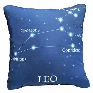 Horoscope Navy Blue Decorative Throw Pillow - Leo