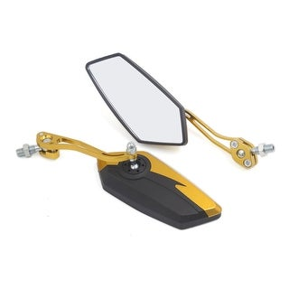 Unique BargainsPair Universal Pentagon Shaped Rearview Mirrors 10mm Thread Dia For Motorcycle