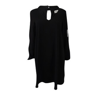 Robbie Bee Women's Petite Choker Cold-Shoulder Shift Dress - Black