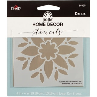 "FolkArt Home Decor Stencil 4""x4""-Dahlia"